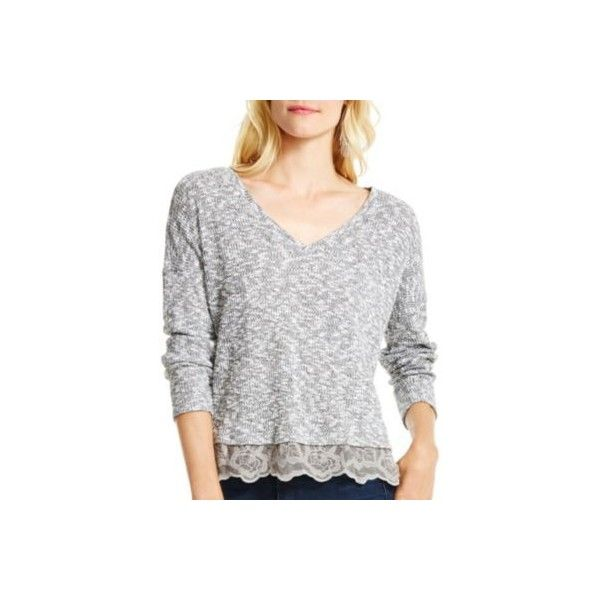 Jessica Simpson Womens Quinn Pullover Sweater (49 PAB) ❤ liked on Polyvore featuring tops, sweaters, black, black pullover sweater, lace pullover, sheer top, sweater pullover and black top