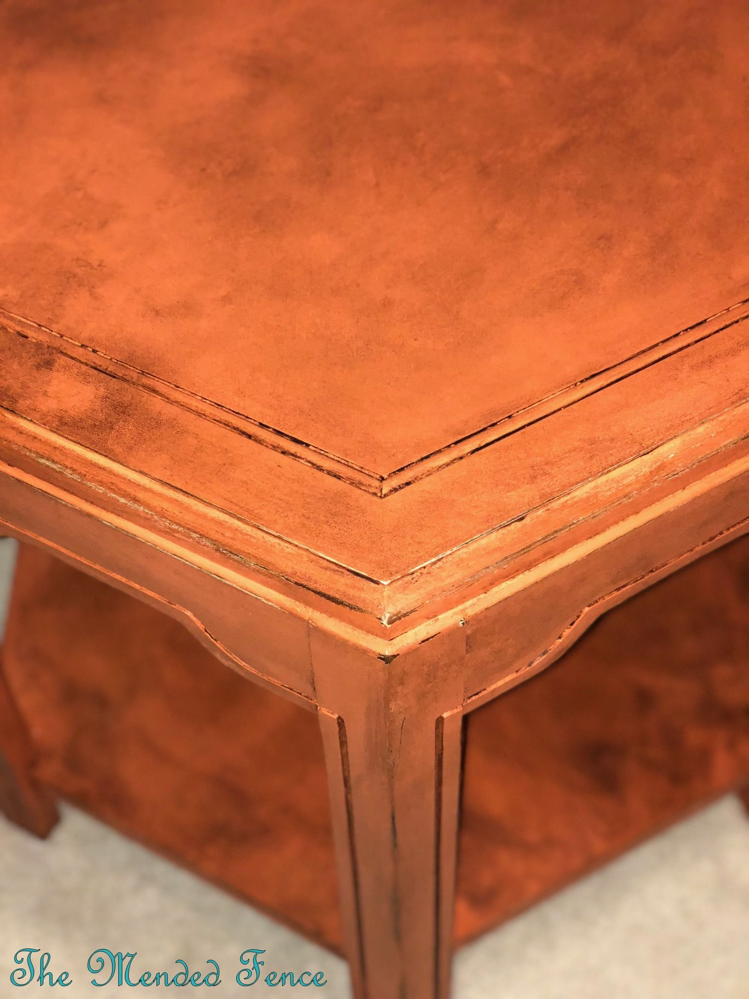 Octagonal Accent Table Painted In Tuscan Orange Fusion Mineral Paint And Finished A Dark Wax