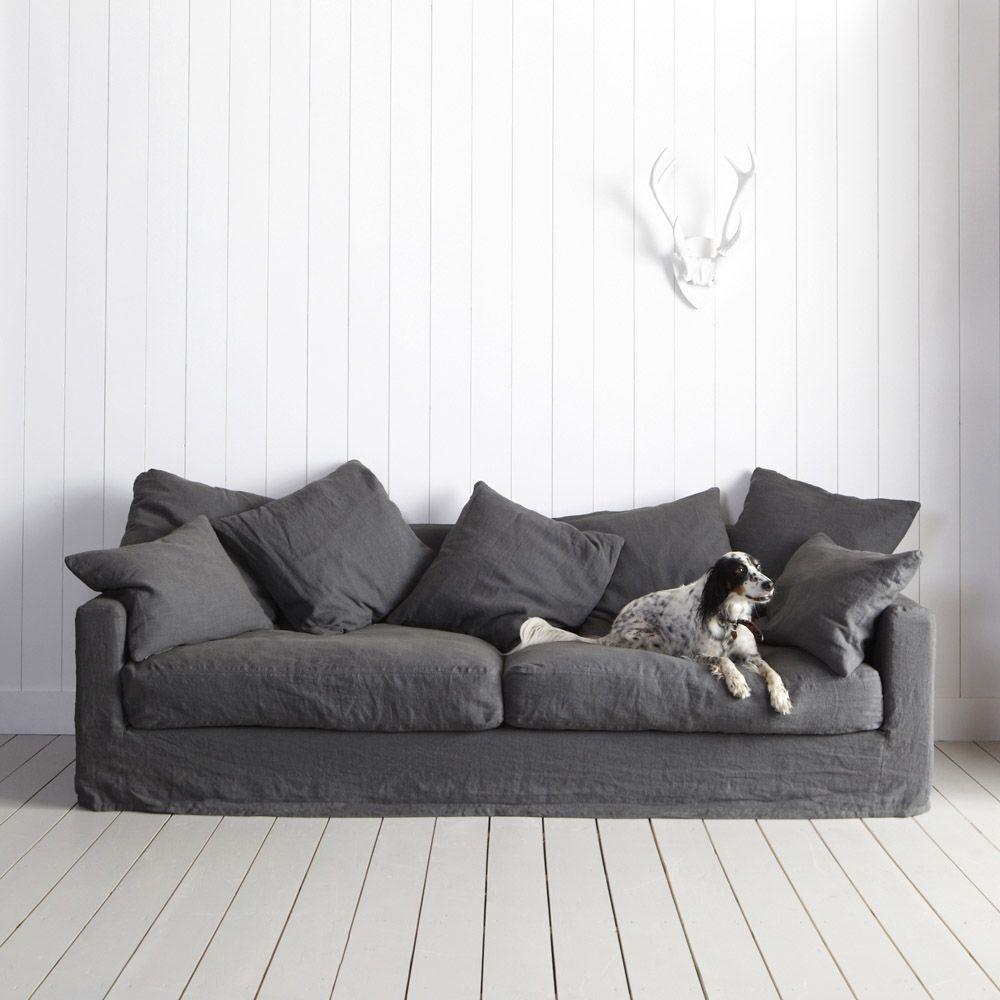Gray Linen sofa  bedroom  Pinterest  가구 메이크오버
