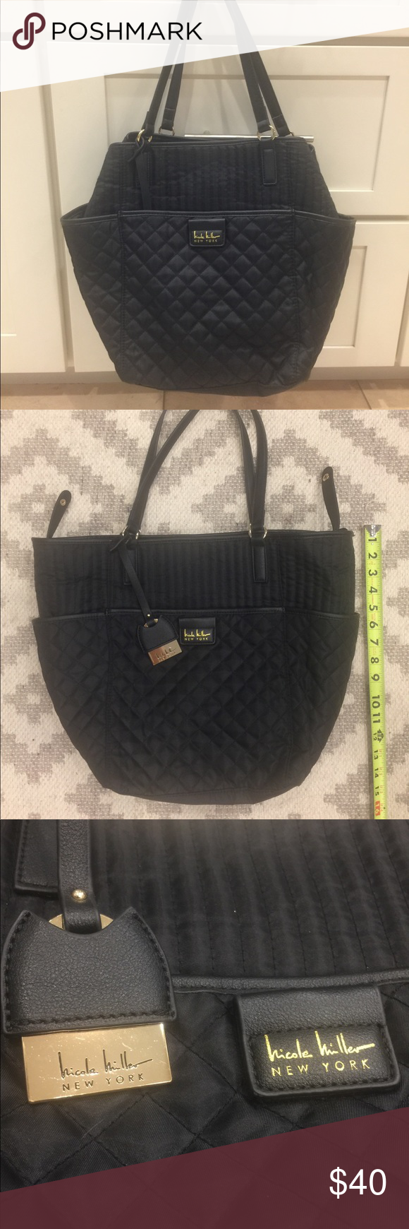 05d587f60fc3 Nicole Miller New York Tote diaper bag Like new Black quilted large Tote.  Animal