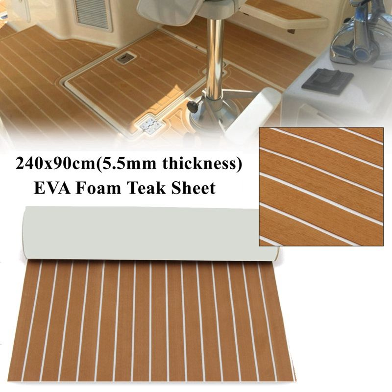 Top Quality Self Adhesive Eva Foam Teak Sheet Boat Yacht Synthetic Decking 5 5mm 90x240cm Foam Floor Mat Yacht Flooring Foam Flooring Boat Restoration