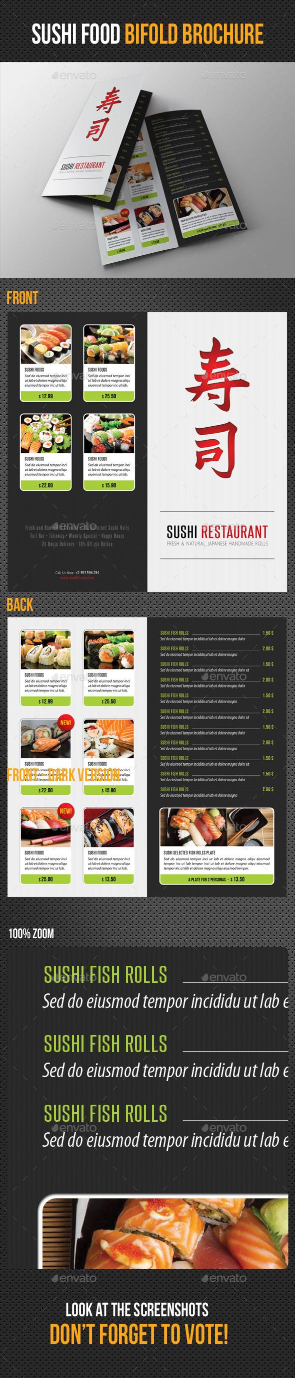 Sushi Restaurant Menu Bifold Brochure  Sushi Restaurants And