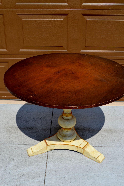 John Widdicomb Style Vintage Round Pedestal Table | Vintage Round Game Table  | High End Round Table With Wooden Top | Luxury Brand Round Tab