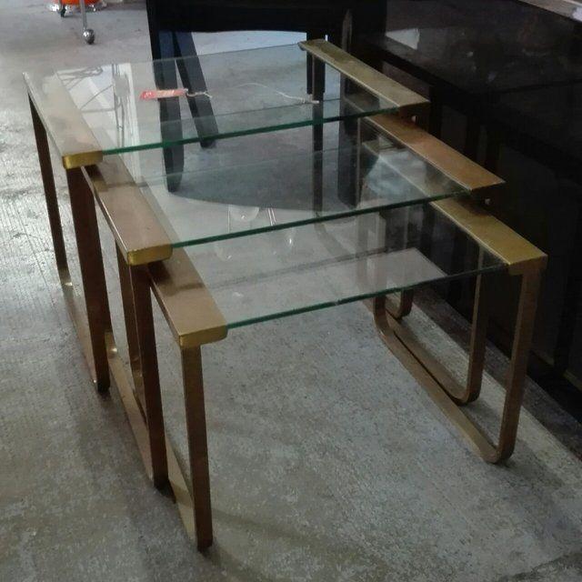 250 tavolini tris anni 50 60 in ottone con ripiani in for Tavolini anni 50