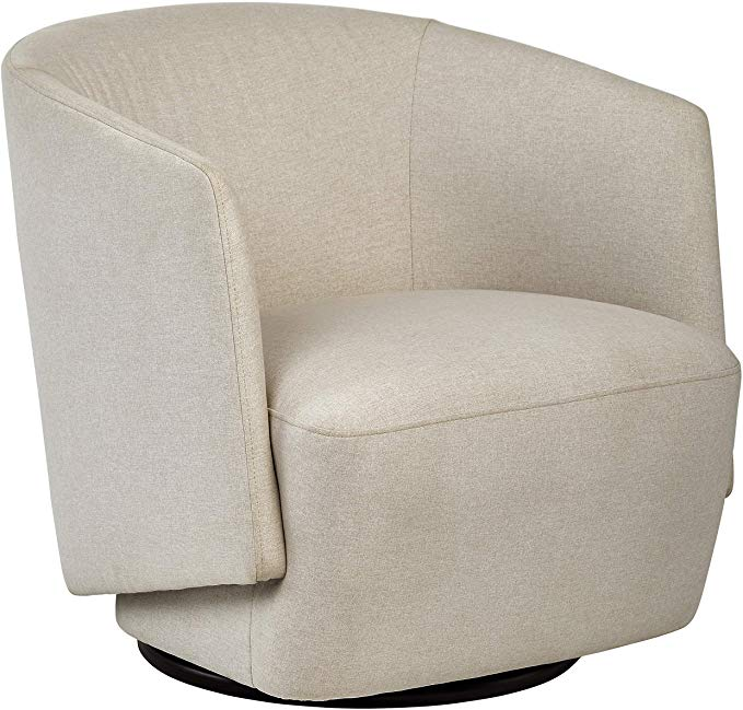 Rivet Coen Contemporary Modern Upholstered Accent Swivel Chair 30 W Cream Home Kitchen Chair Swivel Chair Contemporary Accent Chair