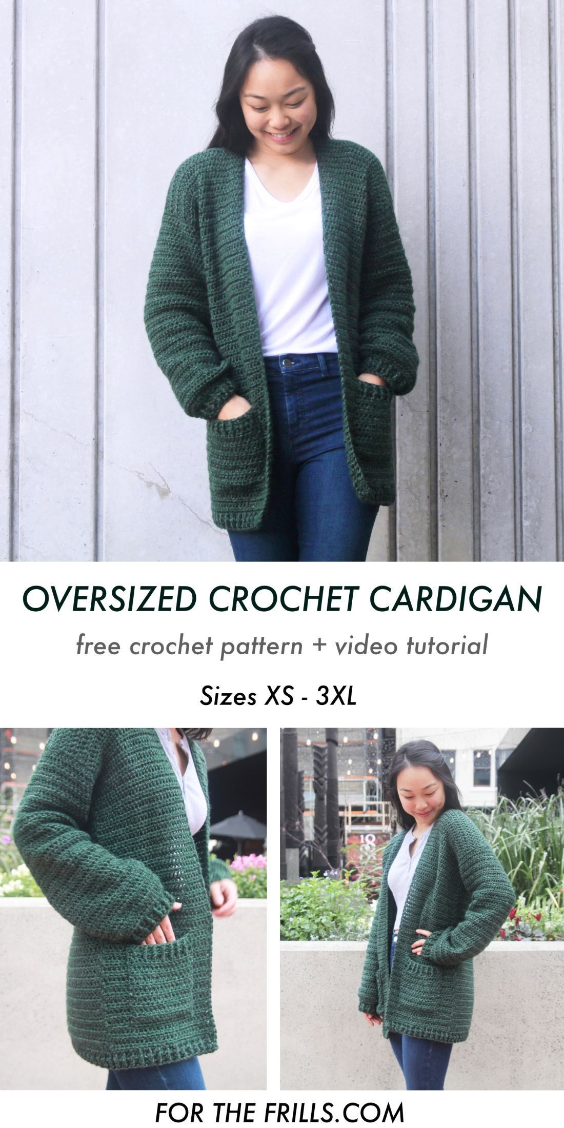 This oversized crochet cardigan sweater pattern is cosy, comfy and perfect for fall! With a long body, loose sleeves and pockets the Briar Cardigan is a free, easy crochet cardigan pattern. Free crochet pattern and video tutorial. #crochetcardigan #crochetsweater #crochetjumper #freecrochetcardiganpattern #fallcrochet #autumncrochet #freecrochet #crochettutorial #crochetcardiganpattern #forthefrills #lionbrandyarn #crochetvideotutorial #diy #sweatercrochetpattern
