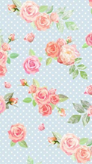 Flowers And Blur Polka Dots Vintage Flowers Wallpaper Flower Wallpaper Floral Wallpaper Flower wallpaper vintage pink background