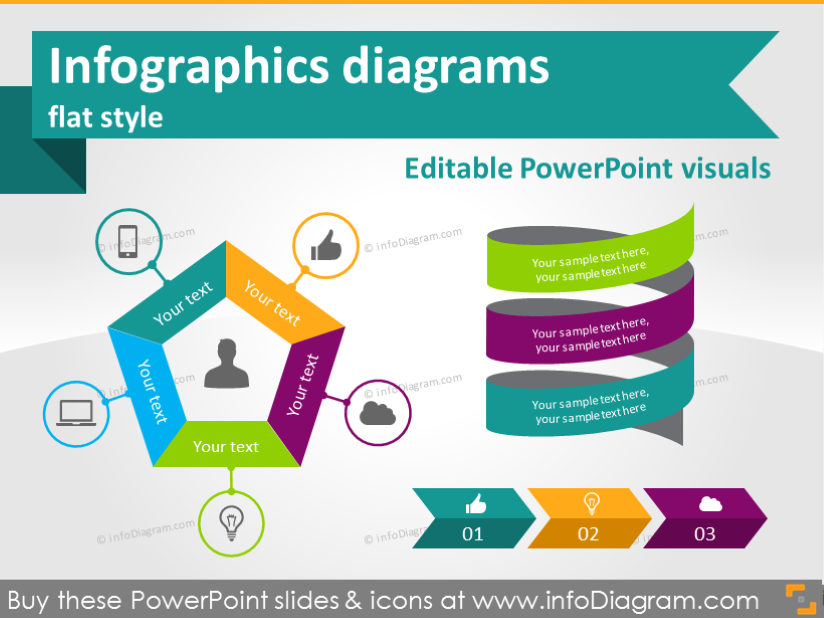 Infographics diagrams and symbols flat graphics