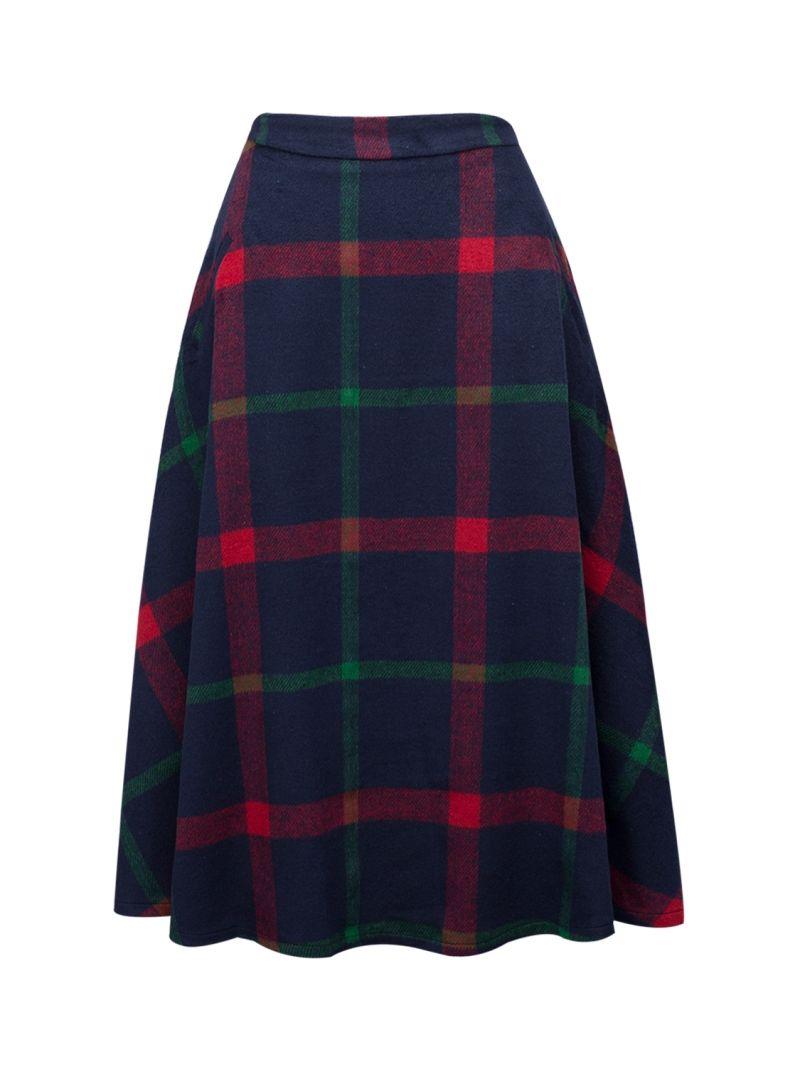 df4000dc55e0f Blue Color Block Plaid Print Wool Midi Skirt | Plaids | Plaid, Color ...
