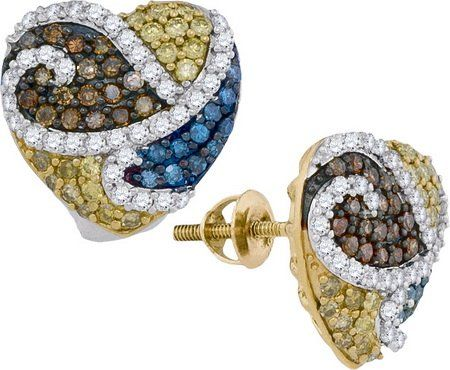 1.24ctw Chocolate Brown Champagne Cognac Canary Yellow Blue & White Heart Shape Diamond Stud Earrings TheJewelryMaster,http://smile.amazon.com/dp/B00GWBX5GC/ref=cm_sw_r_pi_dp_nWRvtb0Q574FZX30