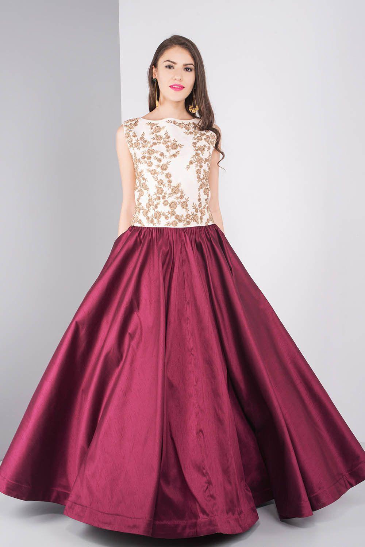 NIYOOSH Ivory And Wine Embroidered Gown #flyrobe #wedding #weddingoutfit #flyrobeweddings #receptionoutfits #designerwear #designergown #receptiongown