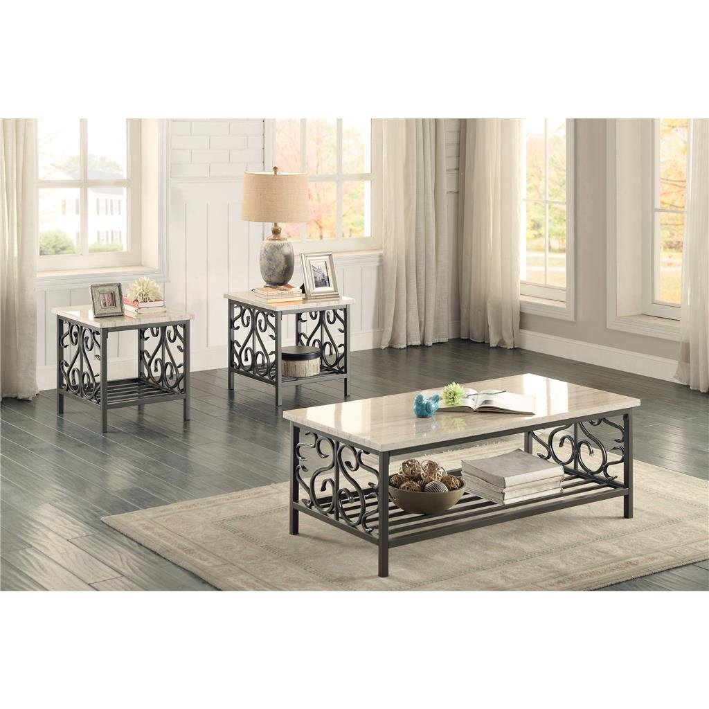 Marble Top 3 Piece Coffee Table Set Fairhope Coffee Table End