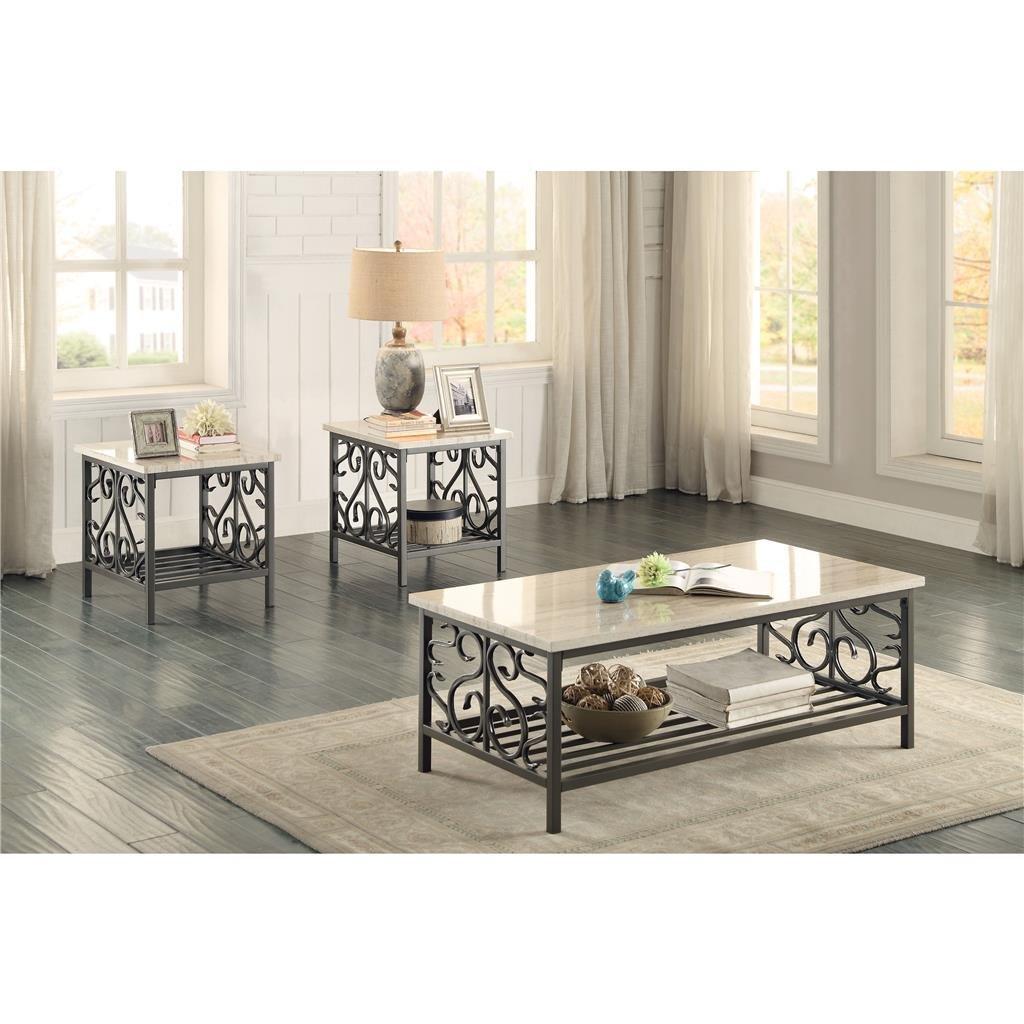 Ashley Furniture Coralayne 3pc Coffee Table Set Silver Coffee