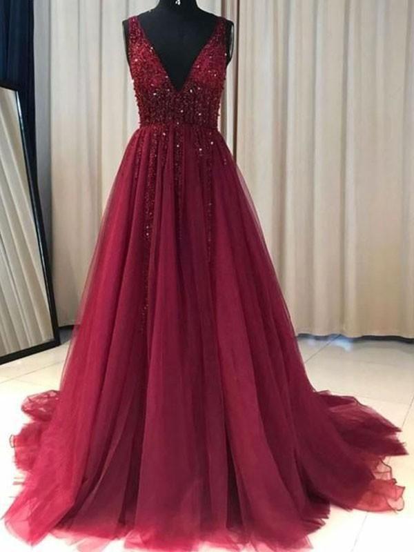 Prom Dress Beautiful, Stylish A-Line/Princess V-neck Sleeveless Sweep/Brush Train Ruffles Tulle Dresses YB33PO1917 Frenze Bridal #promdresses