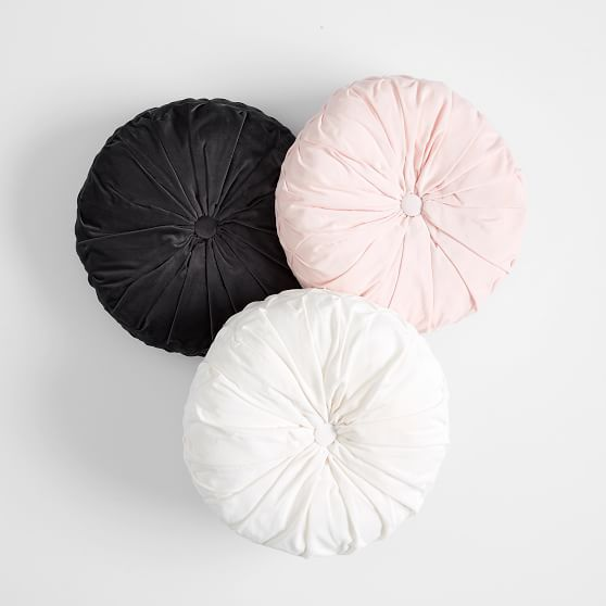 Velvet Pleated Round Pillow