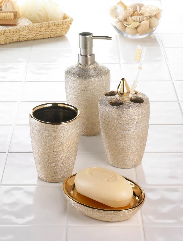 Golden Shimmer Bath Accessories Bathroom Accessories Sets Bath