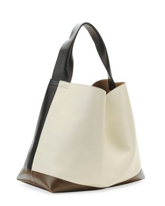 Tricolor Leather Hobo Bag Dark Gray By Marni At Neiman Marcus