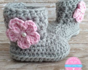Photo of Gray and pink fur booties, Newborn girl shoes, Preemie girl shoes, Crochet slippers, Baby girl gift, Baby girl shoes, Baby girl boots, Uggs