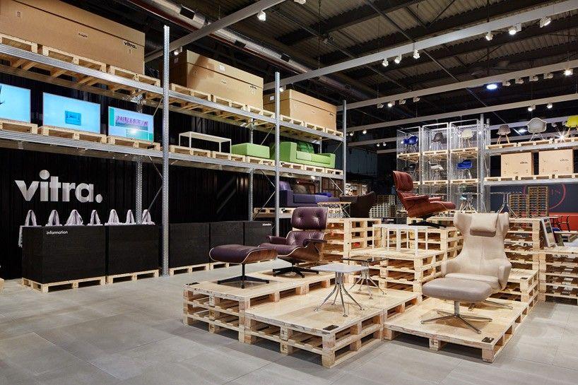 Delo Mobili ~ Schematas temporary warehouse showcases vitra furniture at salone