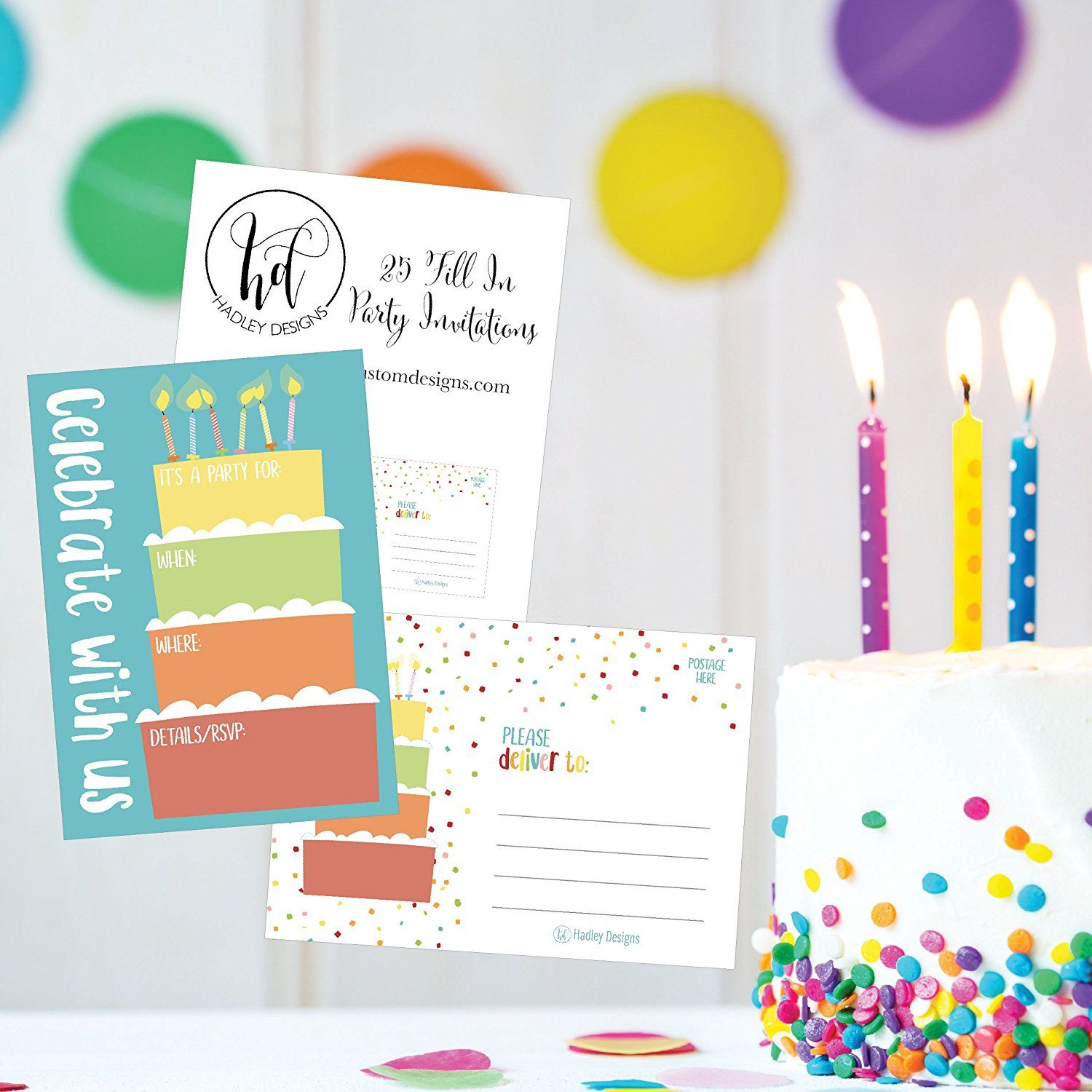 Amazon.com: 25 Cake Rainbow Party Invitations for Kids, Teens ...