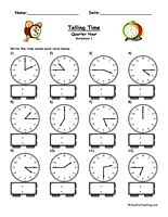 Telling Time Worksheet - To The Quarter Hour   For kids, Kid and ...