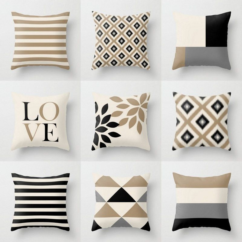 Neutral Throw Pillow Covers Taupe Beige Black Grey Neutral Throw