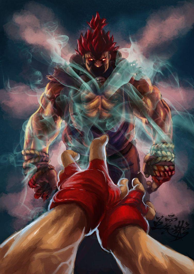 Ryu Vs Akuma Street Fighter Personajes De Videojuegos