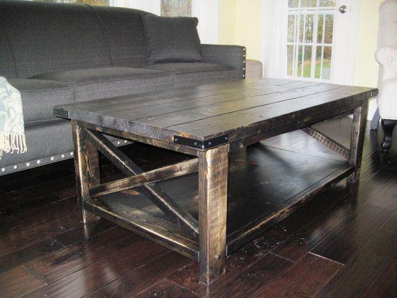 Superbe Rustic X Distressed Handmade Coffee Table   Weathered Black