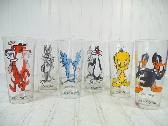 1973 Pepsi Collector Series Thick Glass-Elmer Fudd-White Letters VINTAGE