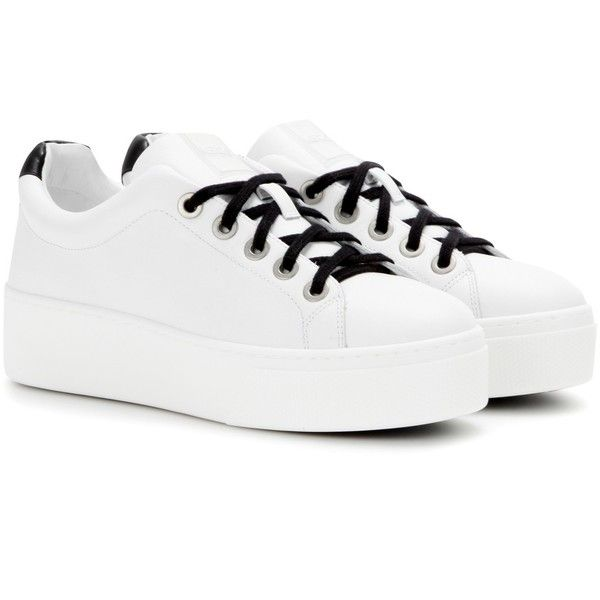 Kenzo Platform Leather Sneakers ($305) ❤ liked on Polyvore featuring shoes…