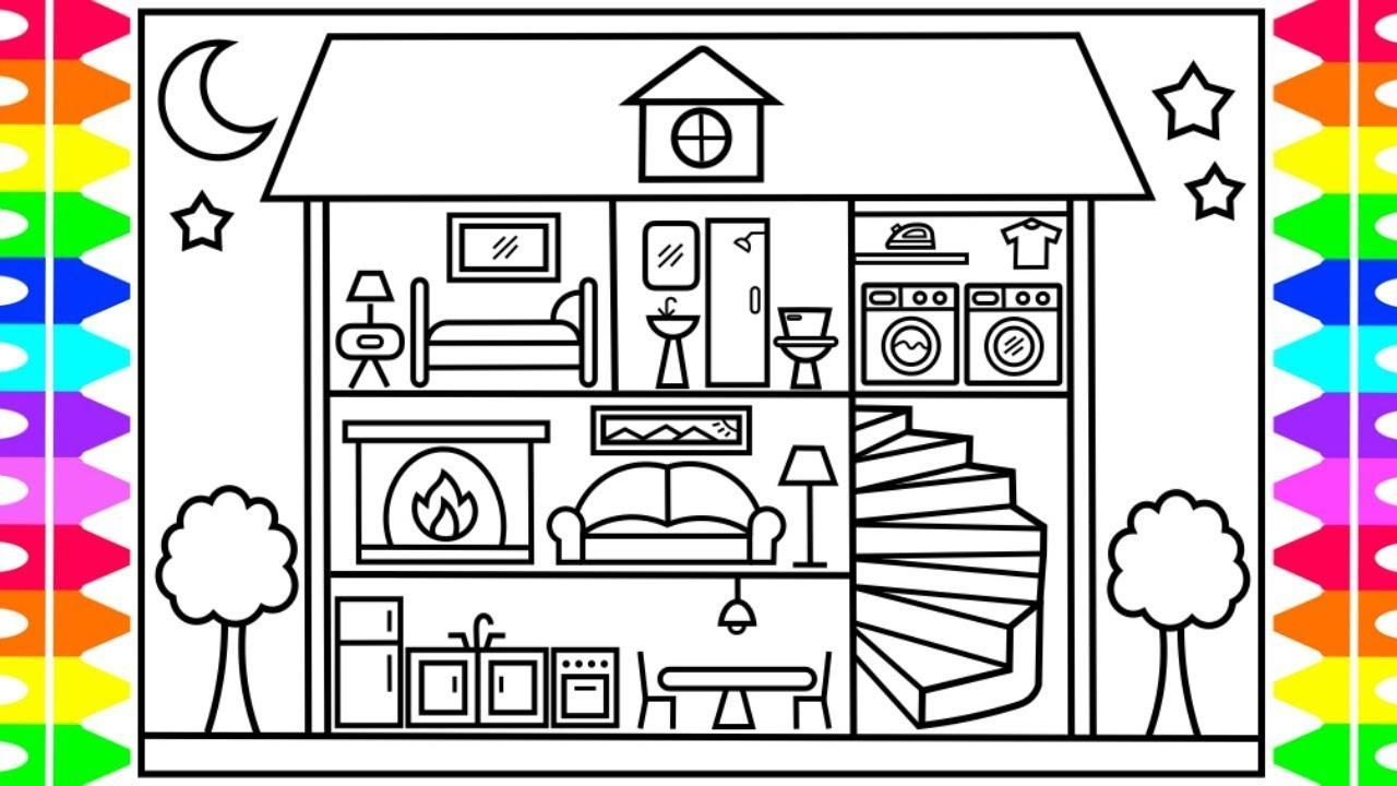 42 Dollhouse Coloring Page House Drawing For Kids House Colouring Pages Drawing For Kids
