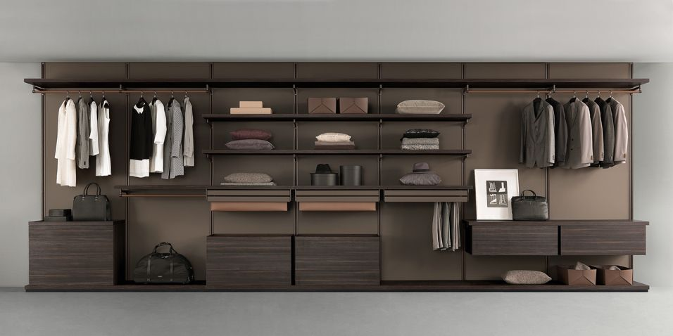 Brown Aluminum Structure, Back Panels And Shelves In Coal Larch Melamine  Finish. Drawer Units