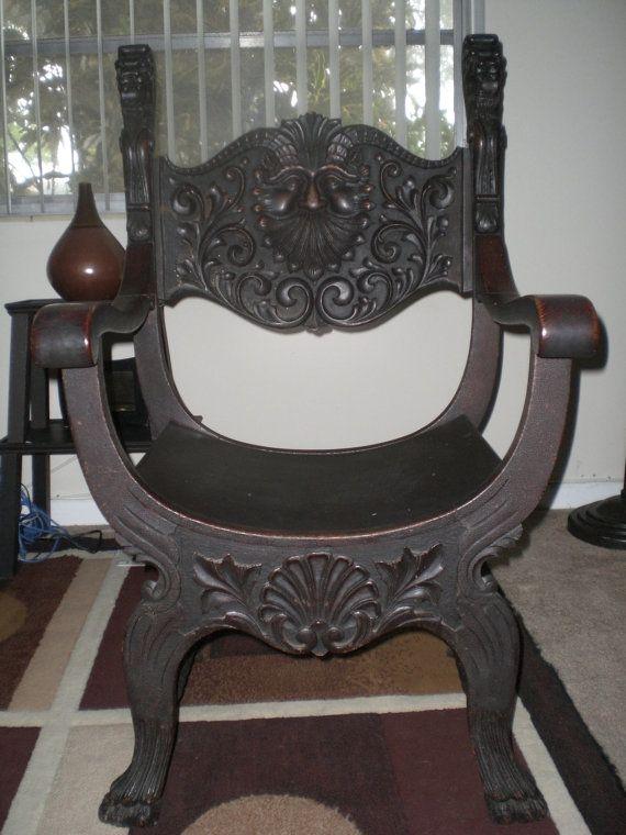 Antique Stomps-Burkhardt Co lion-head chair with green man/old man winter - Antique Stomps-Burkhardt Co Lion-head Chair With Green Man/old Man