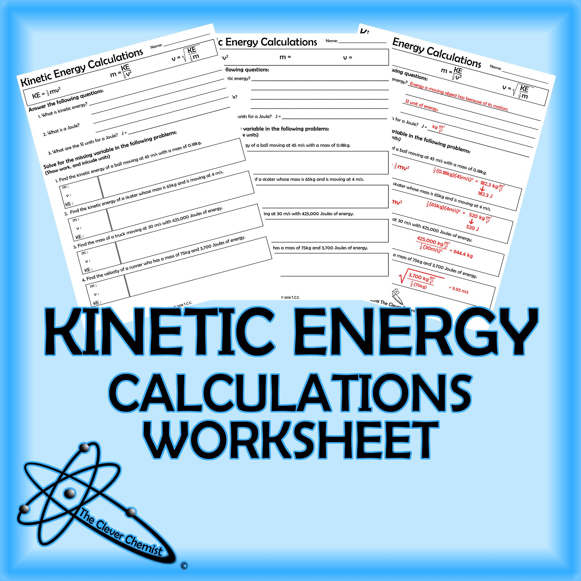 Kinetic Energy Calculations Worksheet