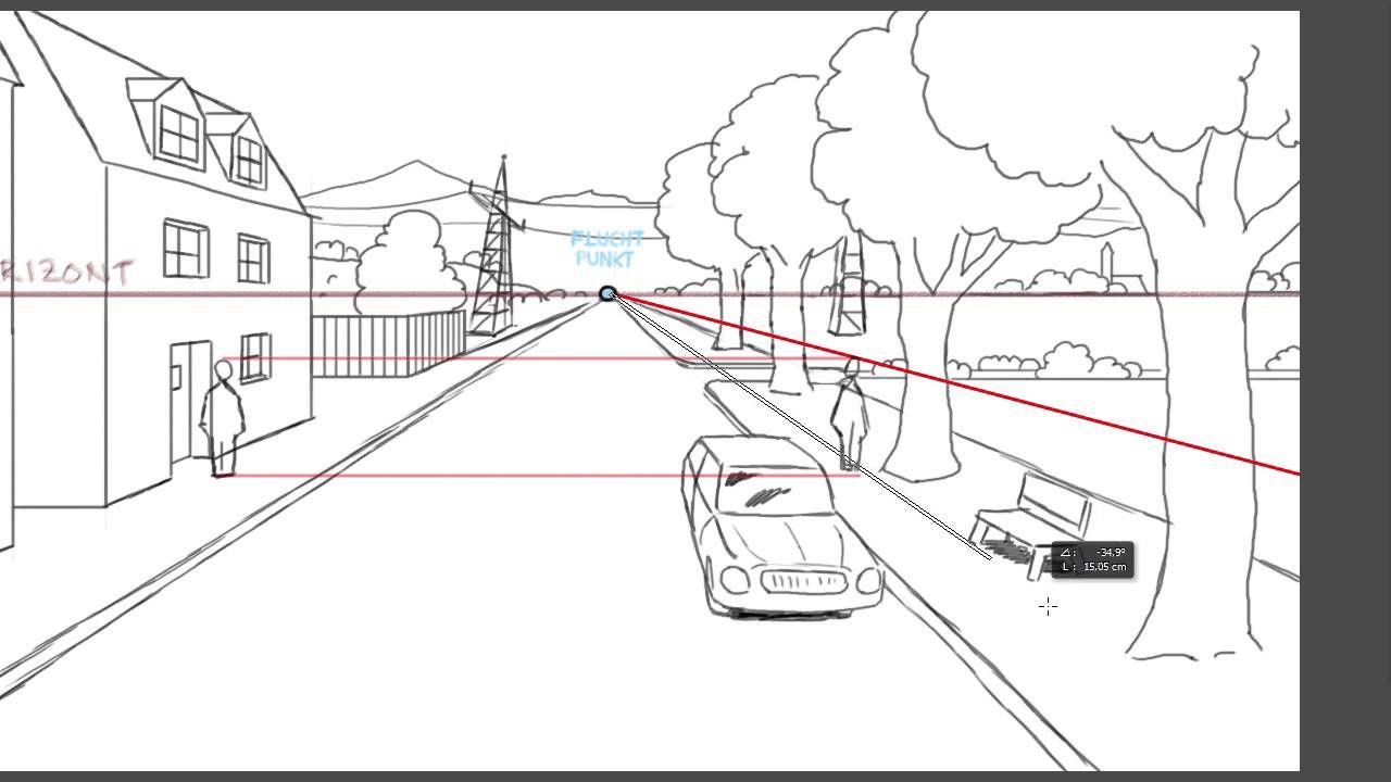 Zeichnen lernen: Perspektive Tutorial: Bezugslinien und -punkte ...