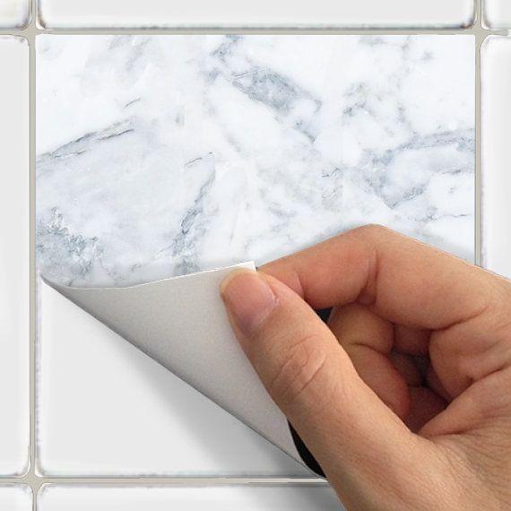 Kitchen Bathroom Tile Decals Vinyl Sticker White Marble Etsy Tile Decals Tile Bathroom Kitchens Bathrooms