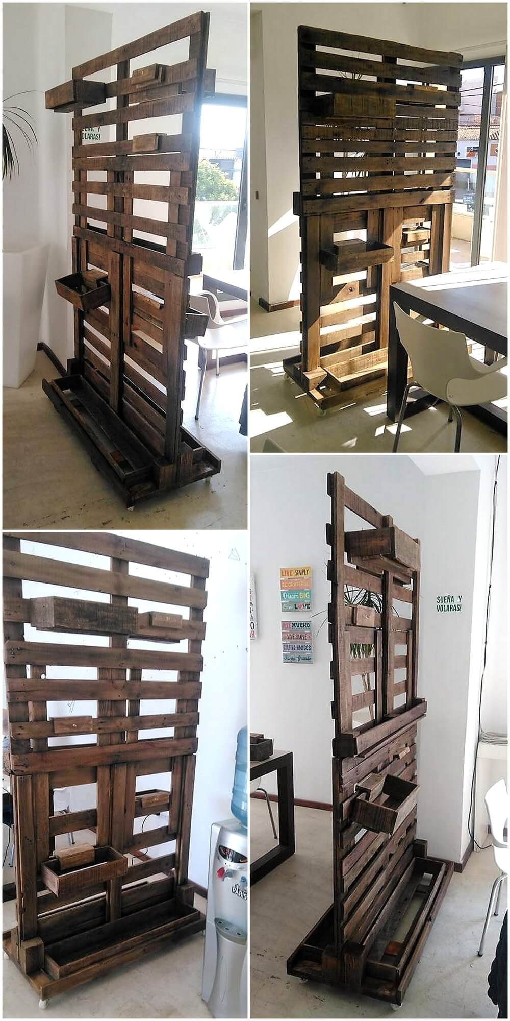 Repurposed wood pallets made room divider idea pallet ideas