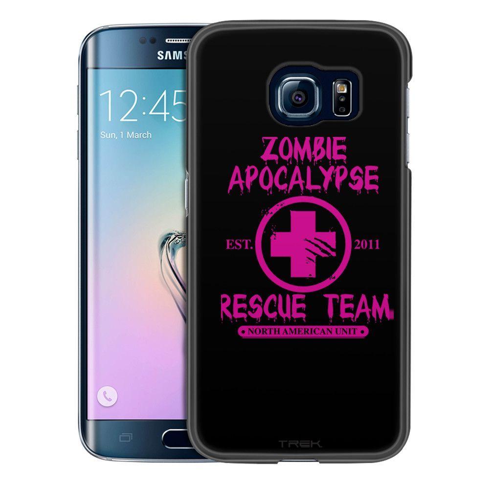 Samsung Galaxy S6 Edge Zombie Apocalypse 2012 Rescue Team Pink on Black Slim Case