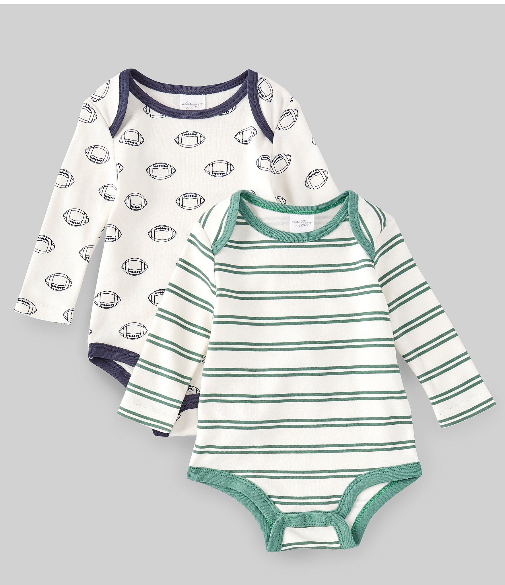 Photo of Starting Out Baby Boys 3-9 Months Stripe/Football 2-Pack Bodysuit | Dillard's
