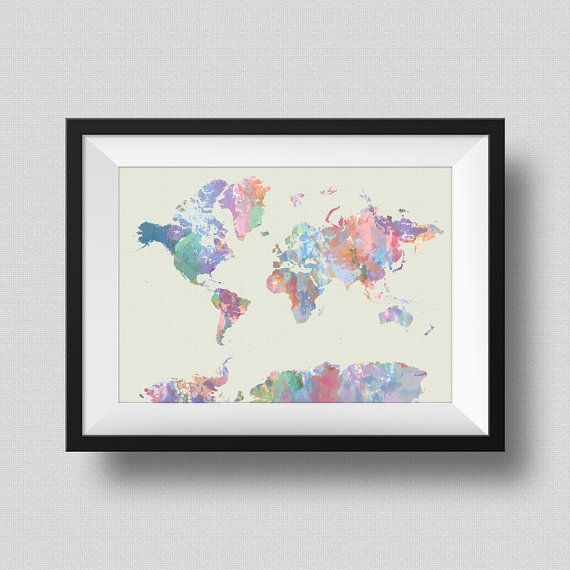World map watercolor map art print world map ink splash poster art world map watercolor map art print world map ink splash poster art canvas map of the gumiabroncs Images