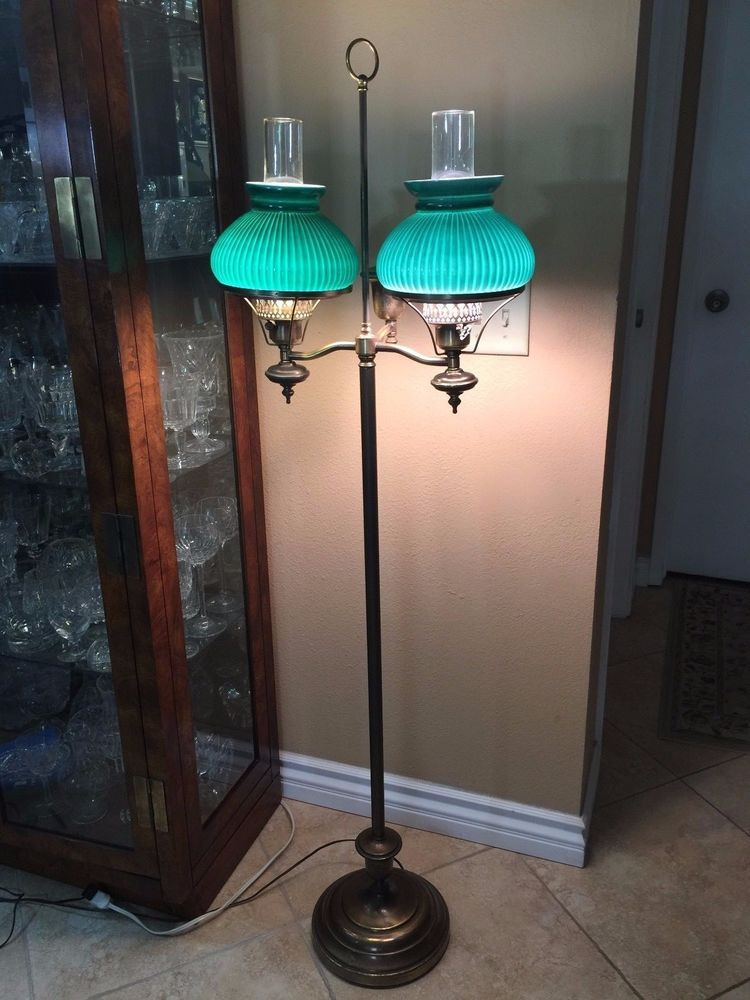 Antique Large Double Brass Floor Lamp W Green Shades 56 Tall X 17 1 2 Wide Brass Floor Lamp Lamp Floor Lamp