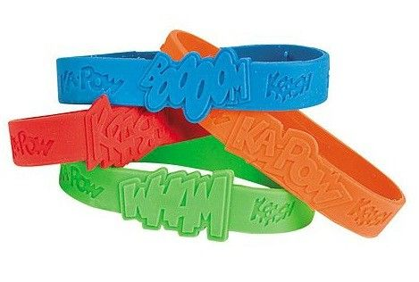 Super Hero Sayings Rubber Bracelets | 12ct for $5.25 in Party Favors - Party Fun