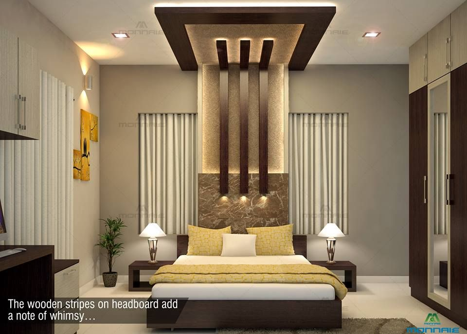The Wooden Stripes On Headboard Add A Note Of Whimsy Visit Website Www Mon Interior Decoration Bedroom False Ceiling Living Room Ceiling Design Living Room