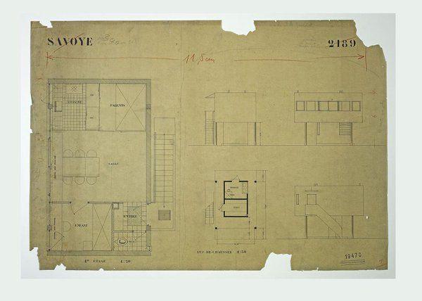 Plans et élévations de la maison du jardinier de la Villa Savoye