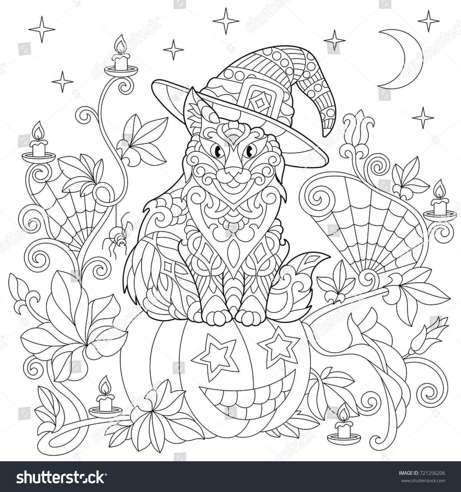 Halloween coloring page. Cat in a hat, halloween pumpkin, spider web ...