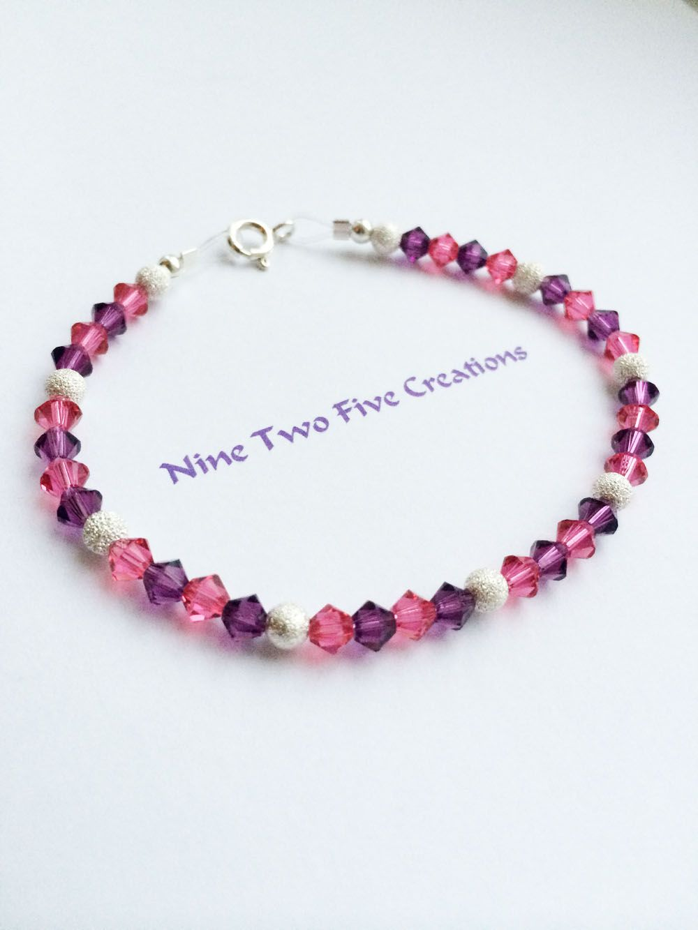 2bb8505c8505e6 Swarovski crystal and stardust bead clasp bracelet in purple velvet and  fushia Lila Samt