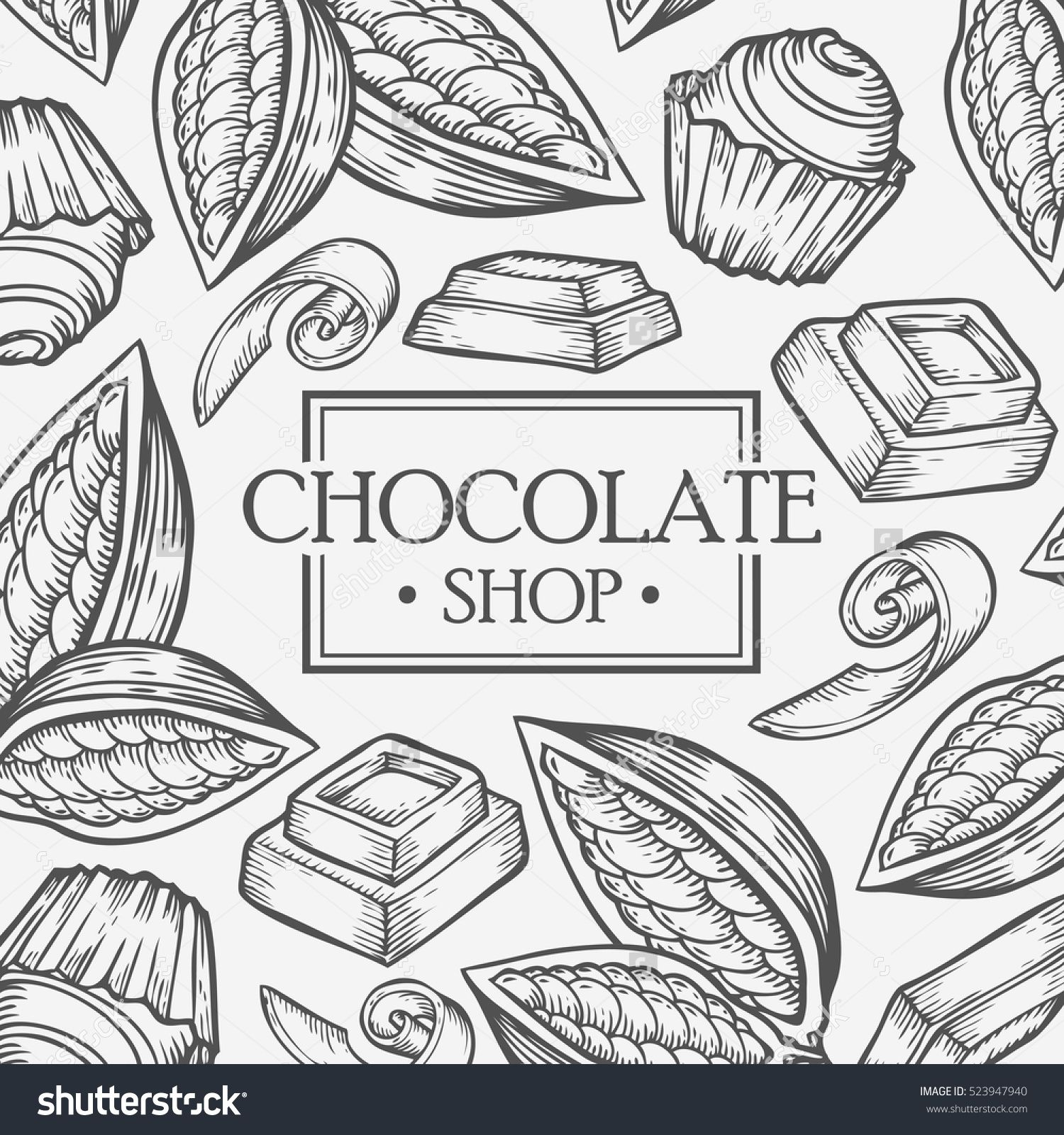 Drawing Smooth Lines With Cocos D : Organic cocoa cacao chocolate shop leaf bean vector hand