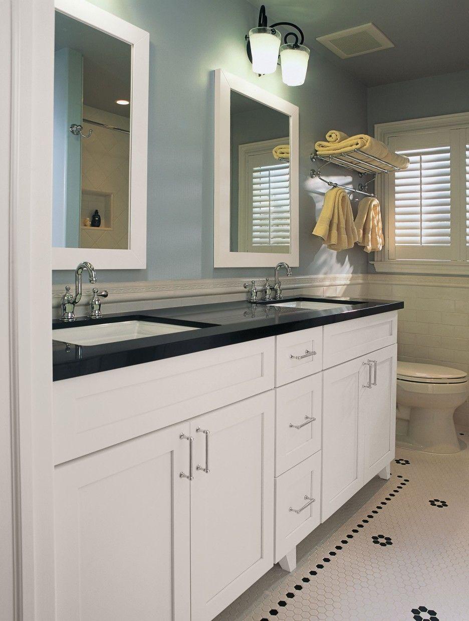 Bathroom Double White Wooden Vanity Decor With Black