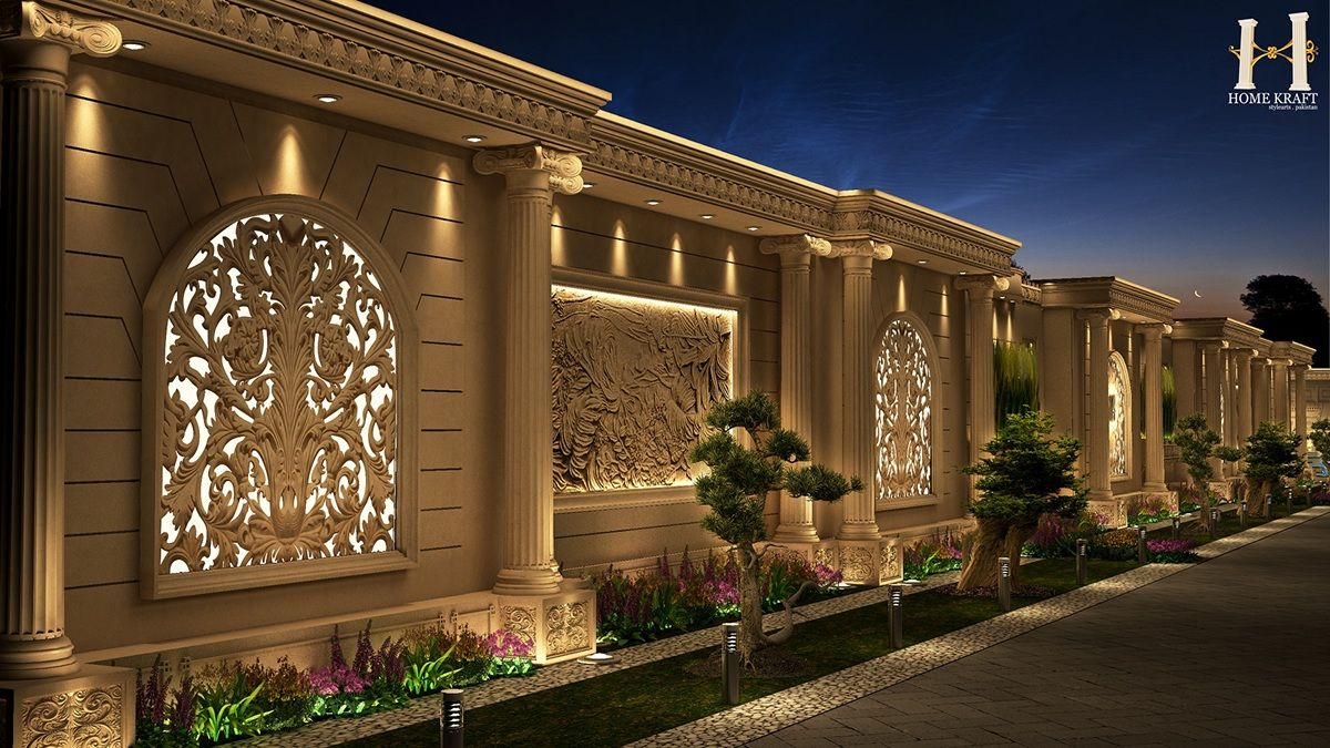Classic Boundary wall design on Behance | Exterior wall ...