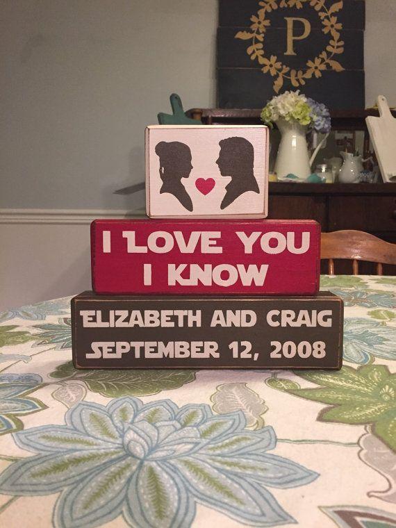 Star Wars Wedding Geek Gift I Love You Know Set Princess Leia Han Solo Personalized Wood Sign Blocks